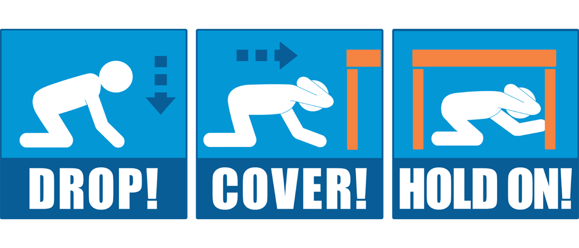 Infographic:Drop, Cover, Hold on